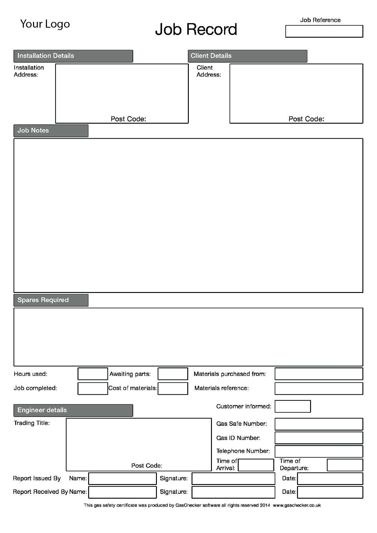 Gas Checker Job Sheets